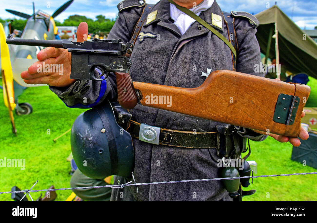 German army WWII Mauser machine pistol and wooden stock - Stock Image