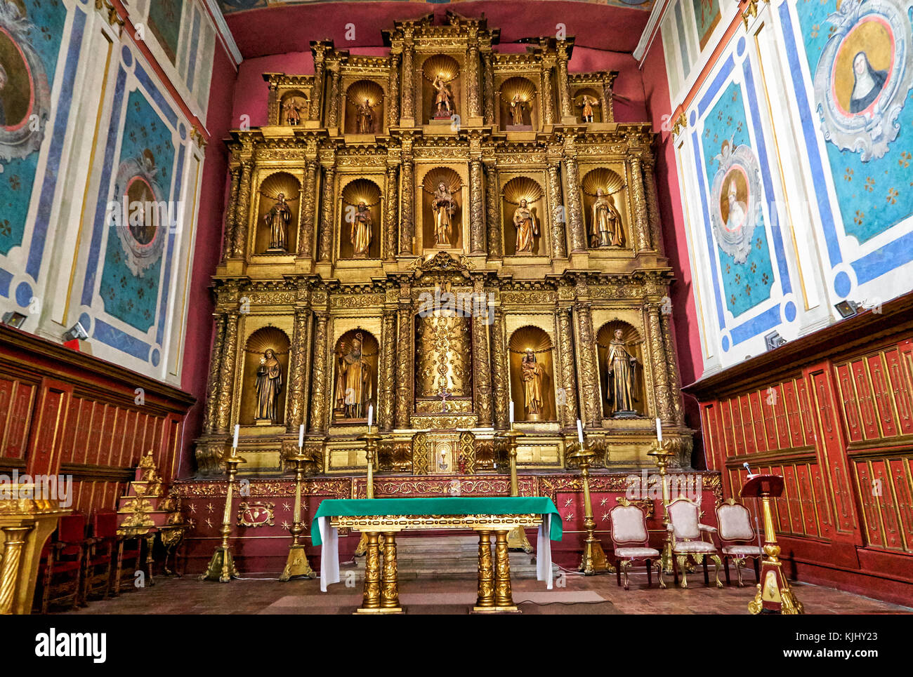 interior shot of Iglesia de la Candelaria or Church of Our Lady of Candelaria, Bogota, Colombia, South America - Stock Image