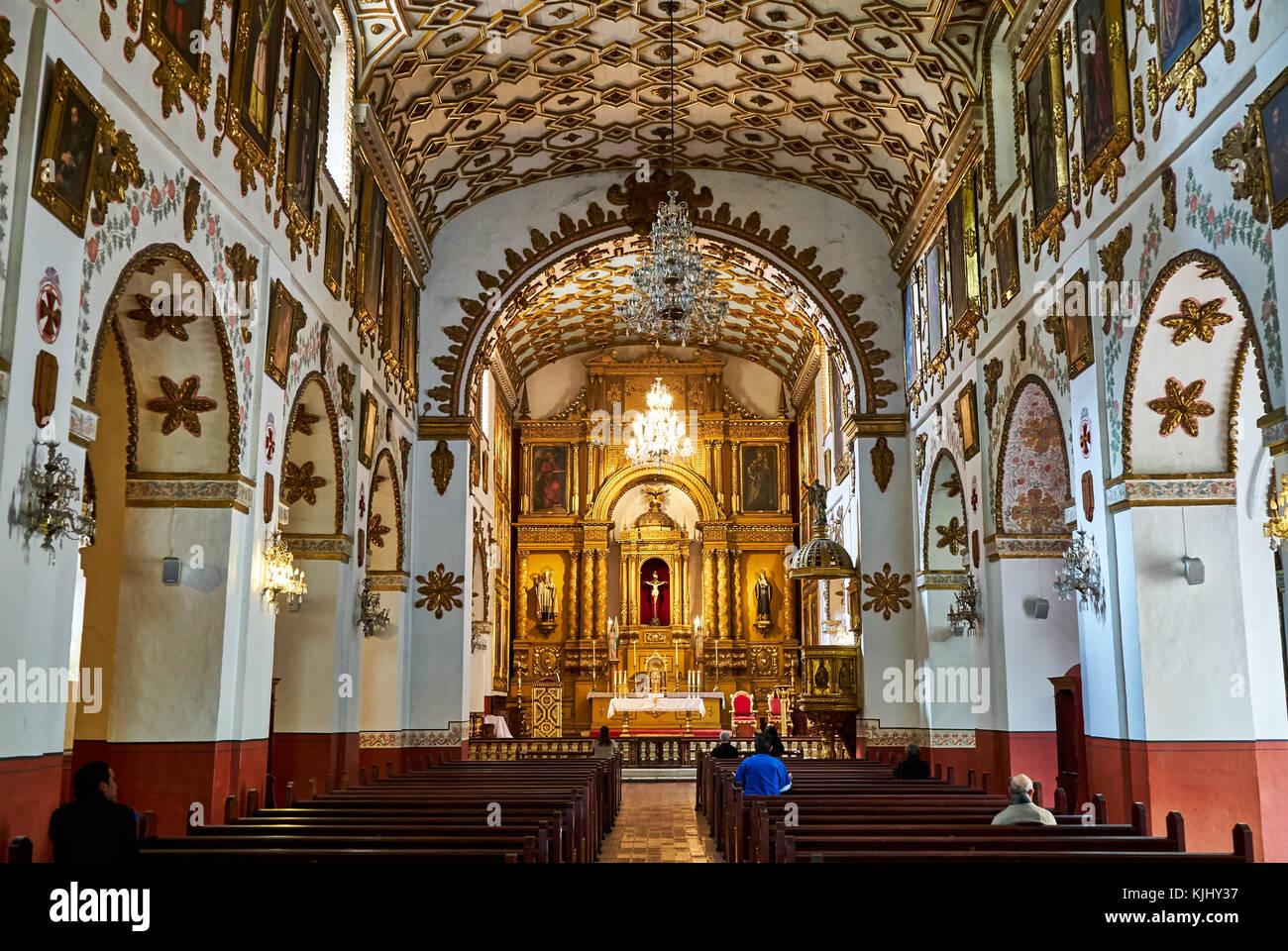 interior shot of Iglesia San Agustin, Bogota, Colombia, South America - Stock Image