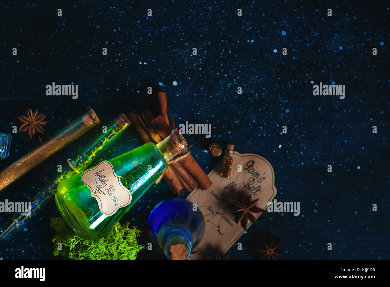 Magical potion of calmness and good sleep concept. Soothing mixture in a glass bottle with Lullaby Potion handwritten - Stock Image