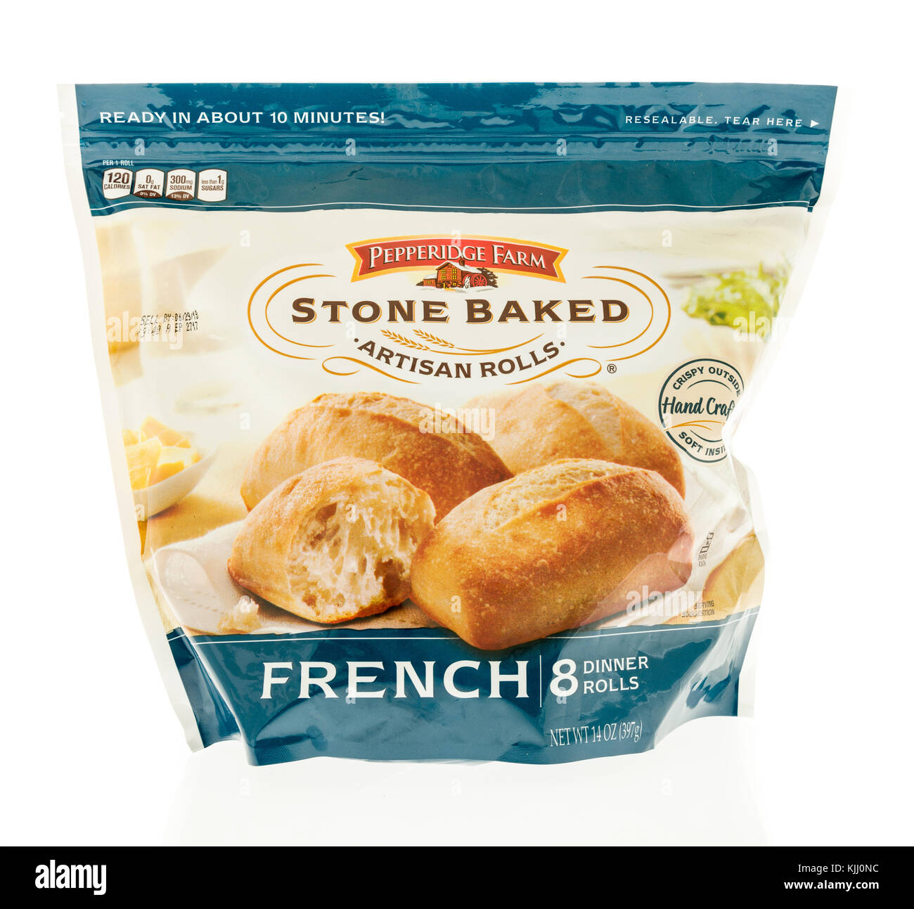 Winneconne, WI - 23 November 2017:  A bag of Pepperidge Farm stone baked artisan rolls on an on an isolated background. - Stock Image