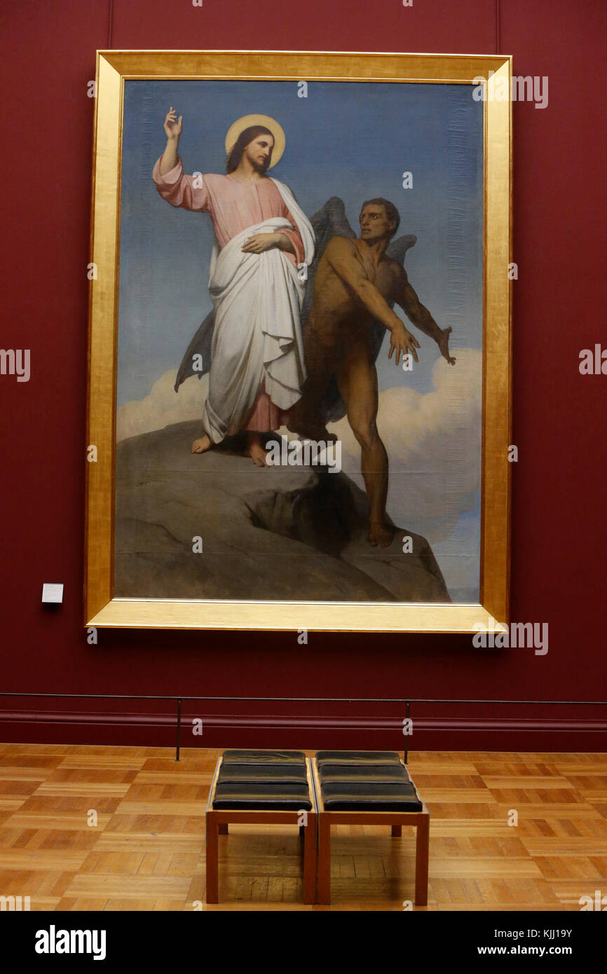 Louvre museum. The temptation of Jesus Christ. Oil on canvas. Ary Scheffer. 1849-1854. France. - Stock Image