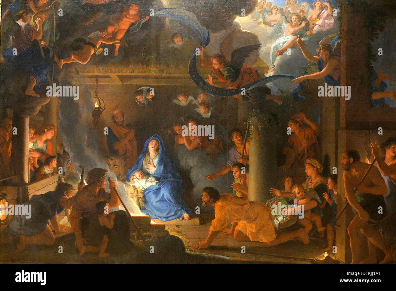 Louvre museum. The adoration of the shepherds. Charles Le Brun. 1689. France. - Stock Image