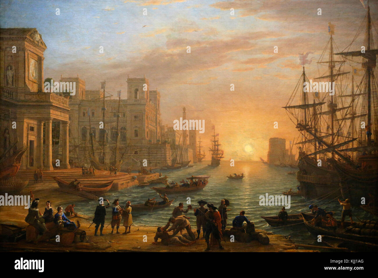 Louvre museum. Harbour at sunset. Claude Gellee called Claude Lorrain. 1639. France. - Stock Image