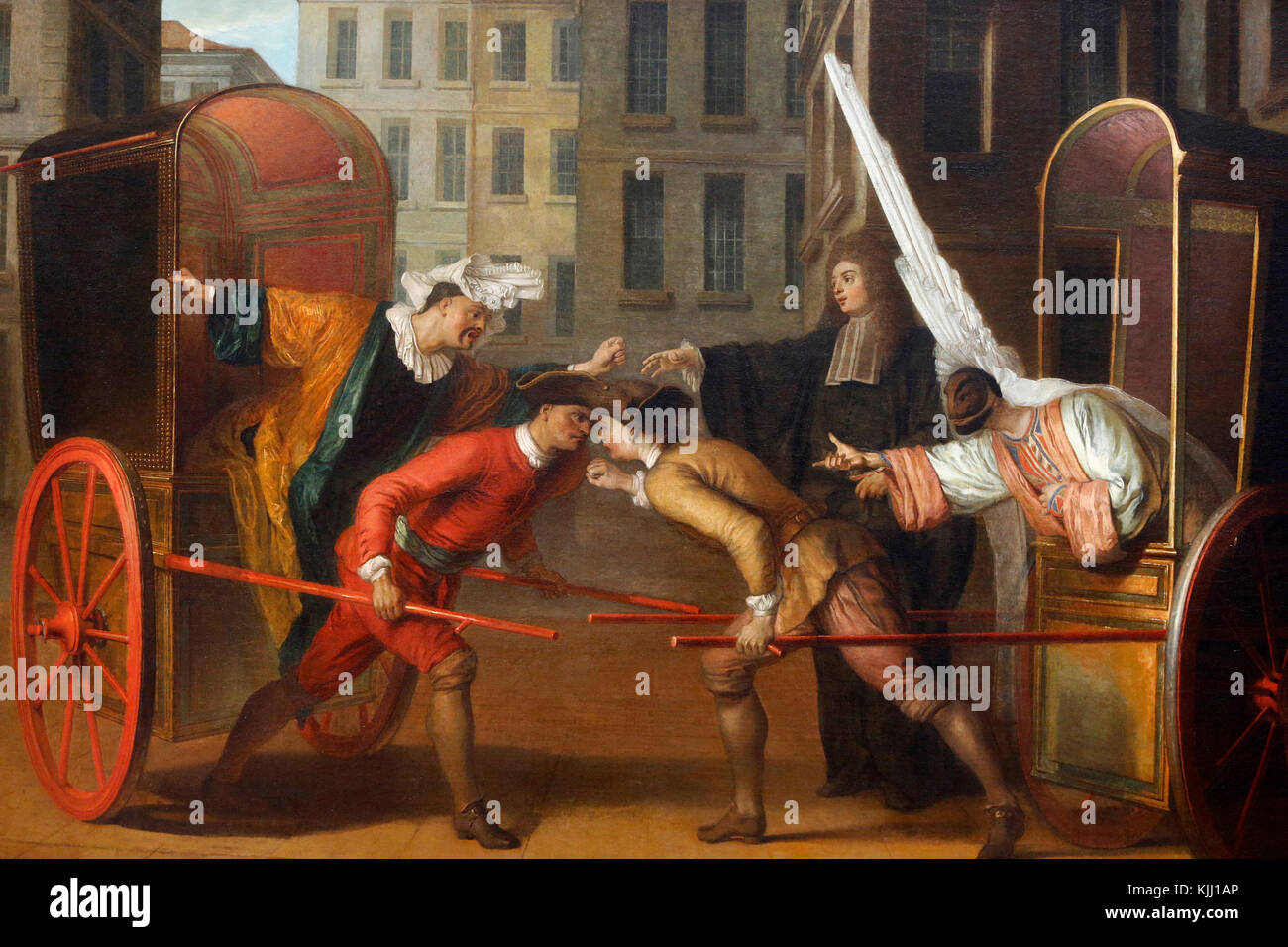 Louvre museum.  Cabmen's dispute. Claude Gillot. Oil on canvas, c. 1707.  France. - Stock Image
