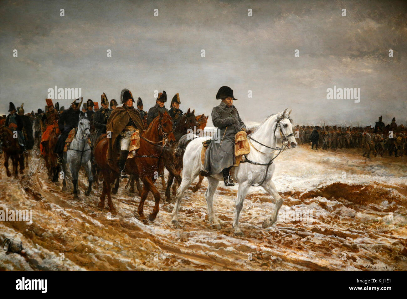 Orsay museum. Ernest Missonier. Napoleon and his staff returning from Soissons after the battle of Laon. Oil on - Stock Image