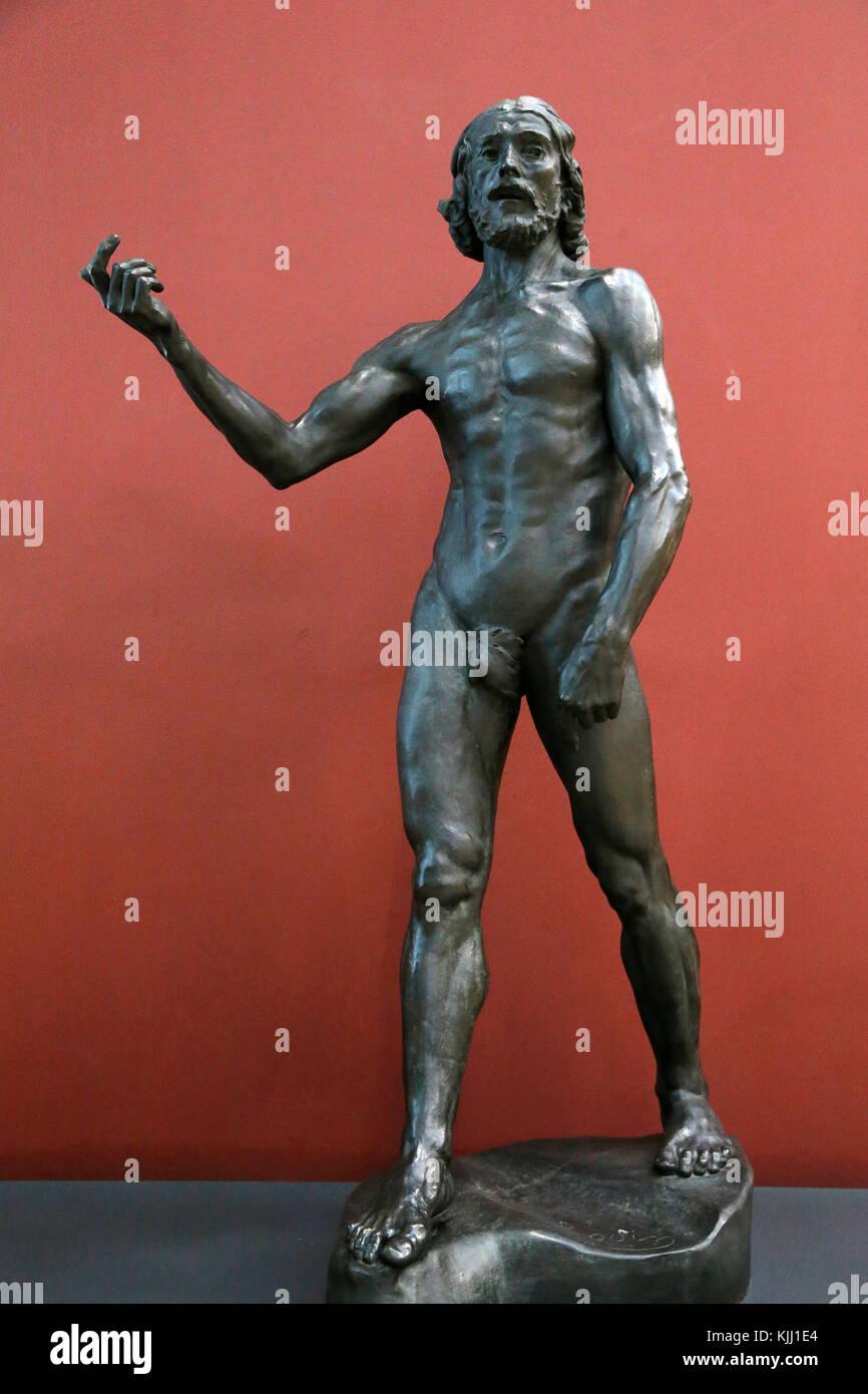 Orsay museum. Auguste Rodin. Saint John the Baptist. Bronze. 1878-1881. France. - Stock Image