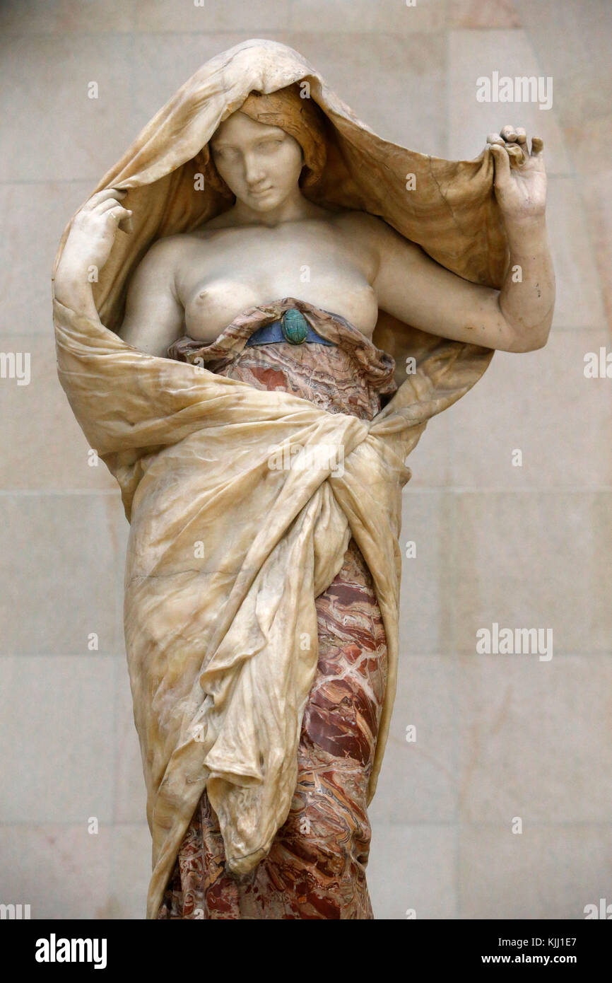 Orsay museum. Louis-Ernest Barrias. Nature unveiling for Science. Polychrome marble. 1899. France. - Stock Image