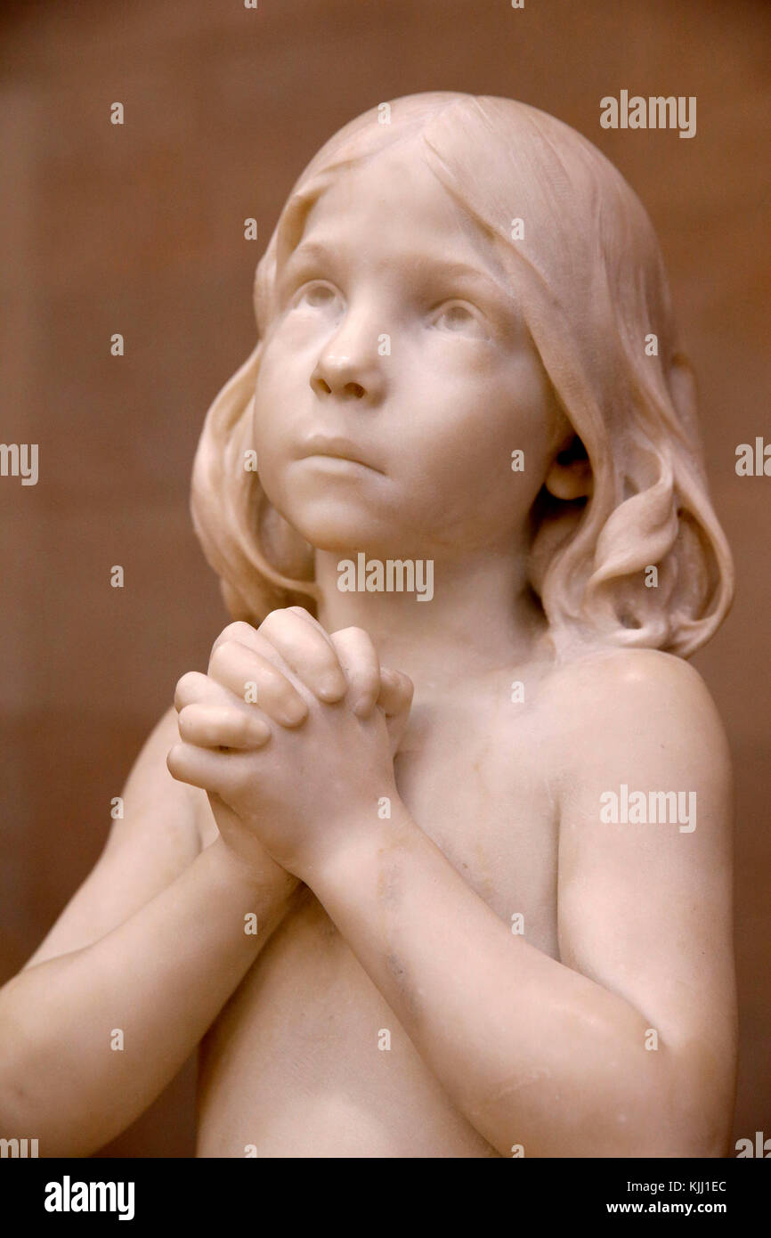 Orsay museum.  Jean Dampt. Saint John the Baptist. Marble. 1881. France. - Stock Image