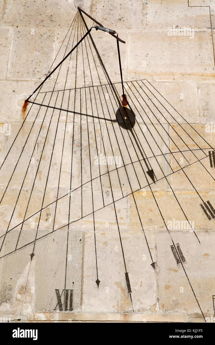 Val de Grace army museum. Sundial. France. - Stock Image