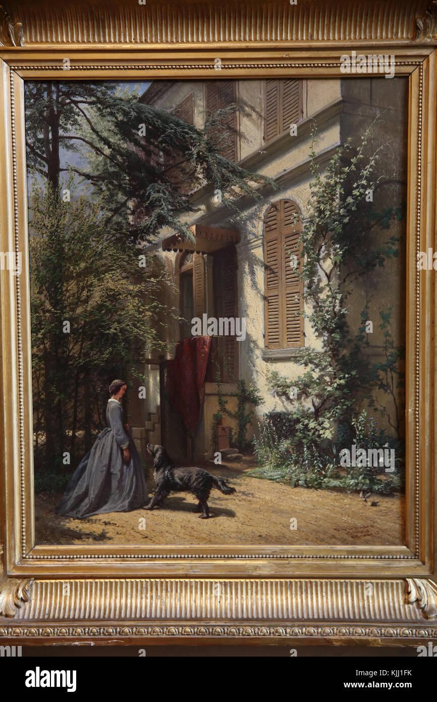 MusŽe de la Vie Romantique, Paris. Arie-Johannes Lamme, le jardin de la rue Chaptal, huile sur bois. France. - Stock Image