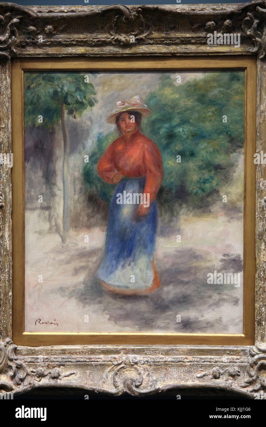MusŽe de l'Orangerie, Paris. Pierre-Auguste Renoir, Gabrielle au jardin, vers 1905?. Huile sur toile. France. - Stock Image