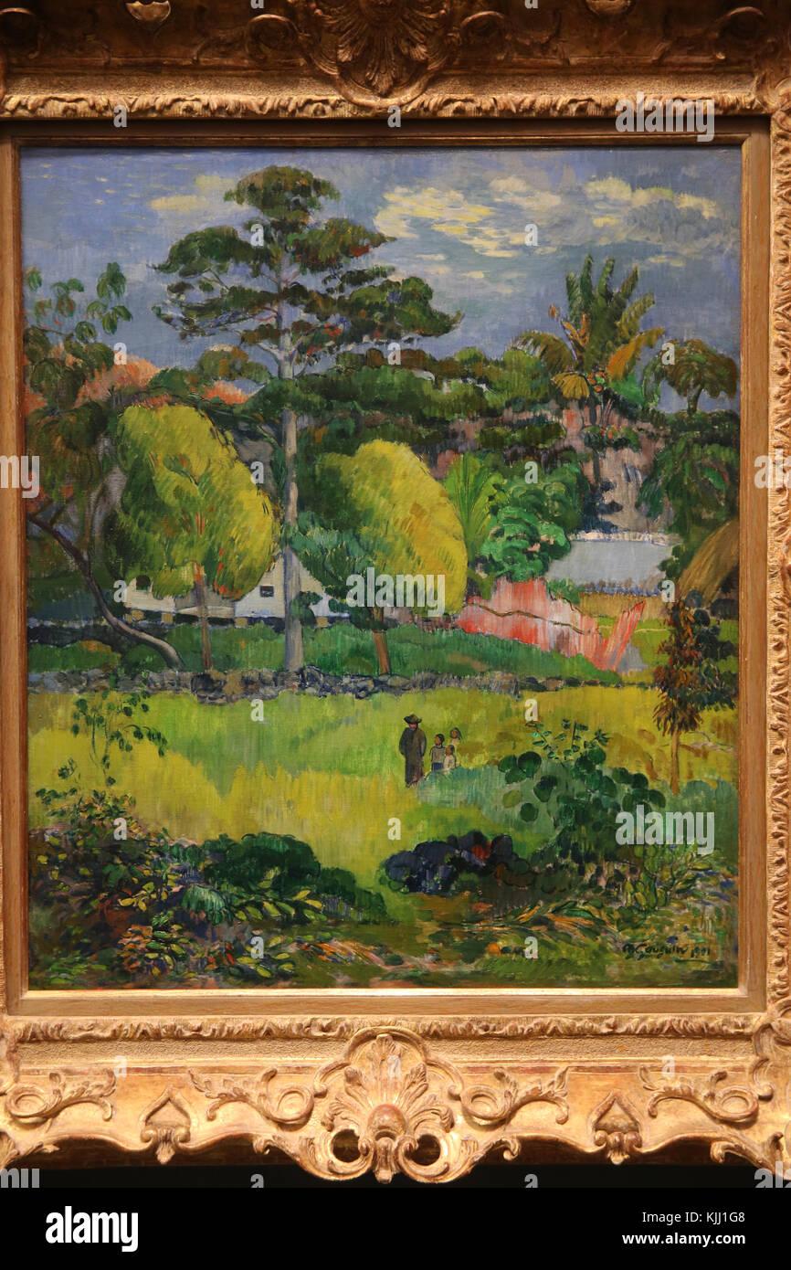 MusŽe de l'Orangerie, Paris. Paul Gauguin, Paysage, 1901. Huile sur toile. France. - Stock Image