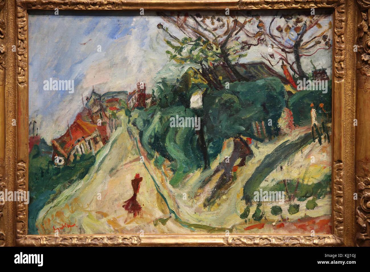MusŽe de l'Orangerie, Paris. Cha•m Soutine, Paysage avec personnage, vers 1918-1919. Huile sur toile. France. - Stock Image