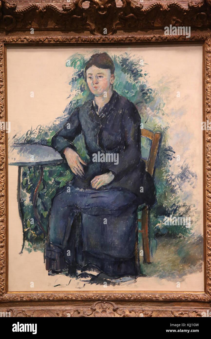 MusŽe de l'Orangerie, Paris. Paul CŽzanne, Madame CŽzanne au jardin, 1879-1880. Huile sur toile. France. - Stock Image