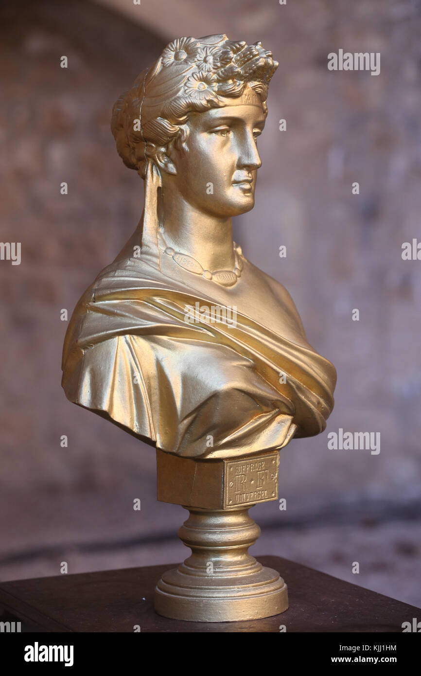 Bust of Marianne, a national symbol of the French Republic, an allegory of liberty and reason.  France. - Stock Image