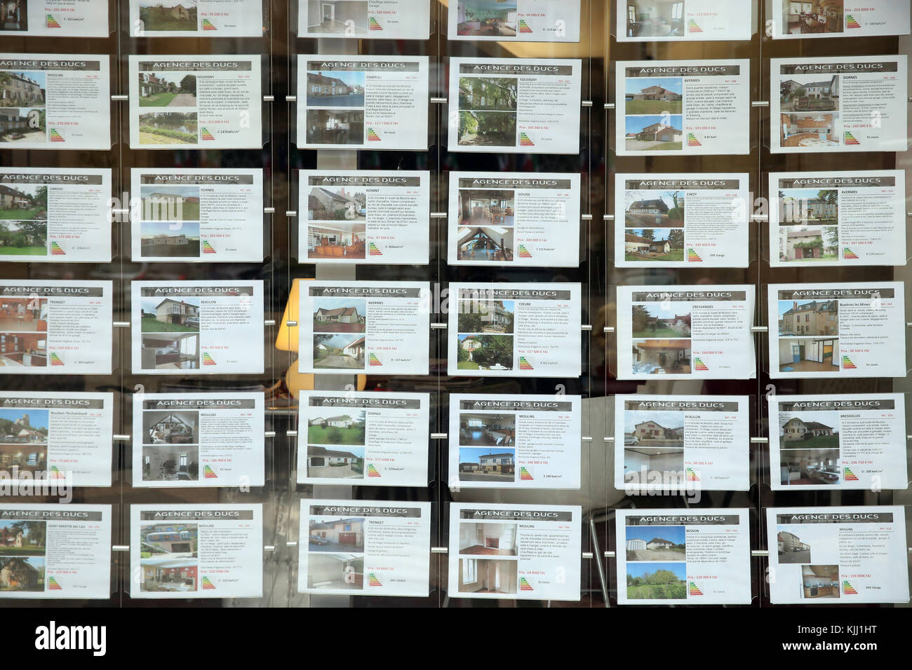 Real estate agency window.  France. - Stock Image