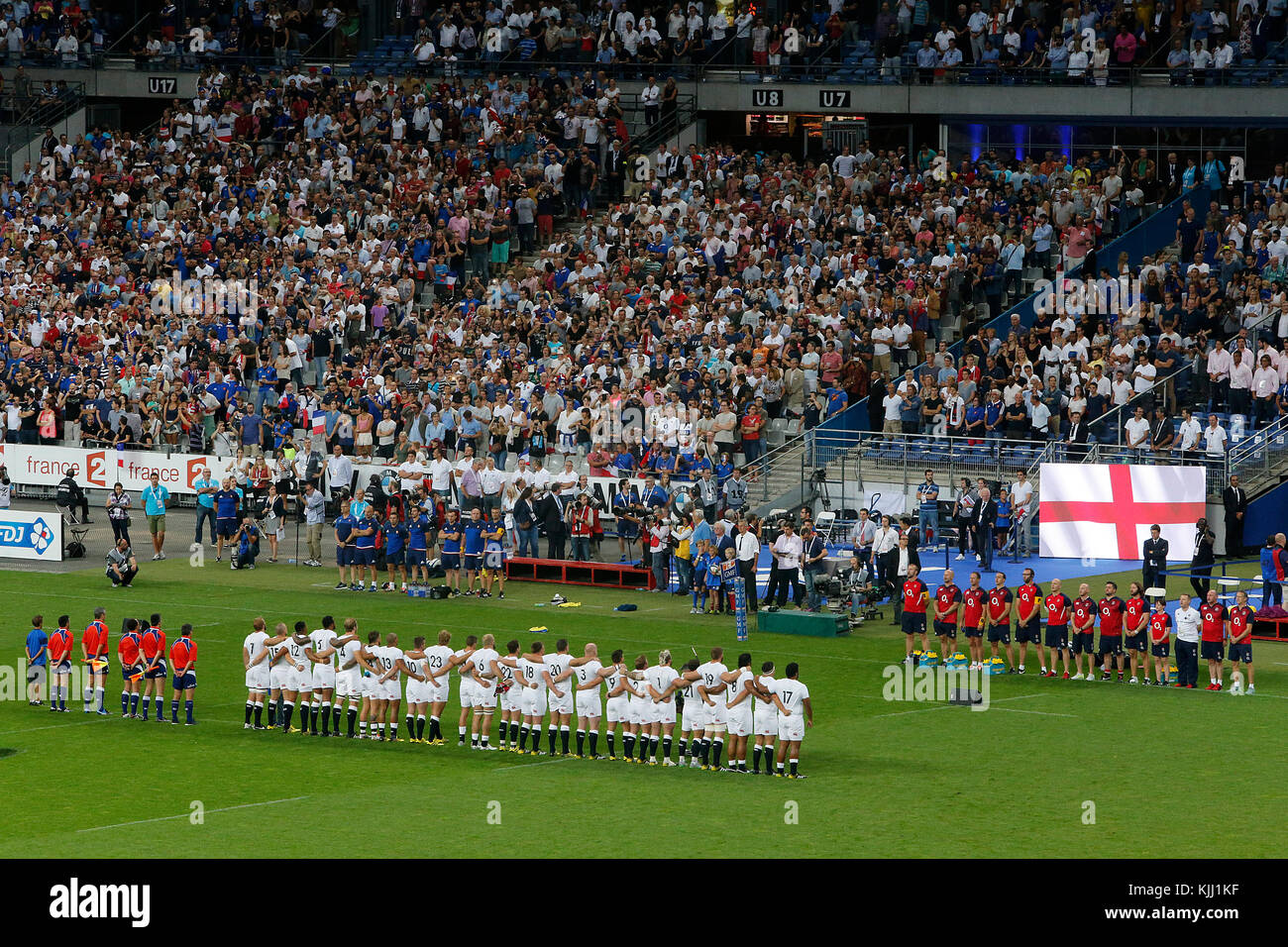 Rugby match at the Stade de France. Anthems. France. - Stock Image