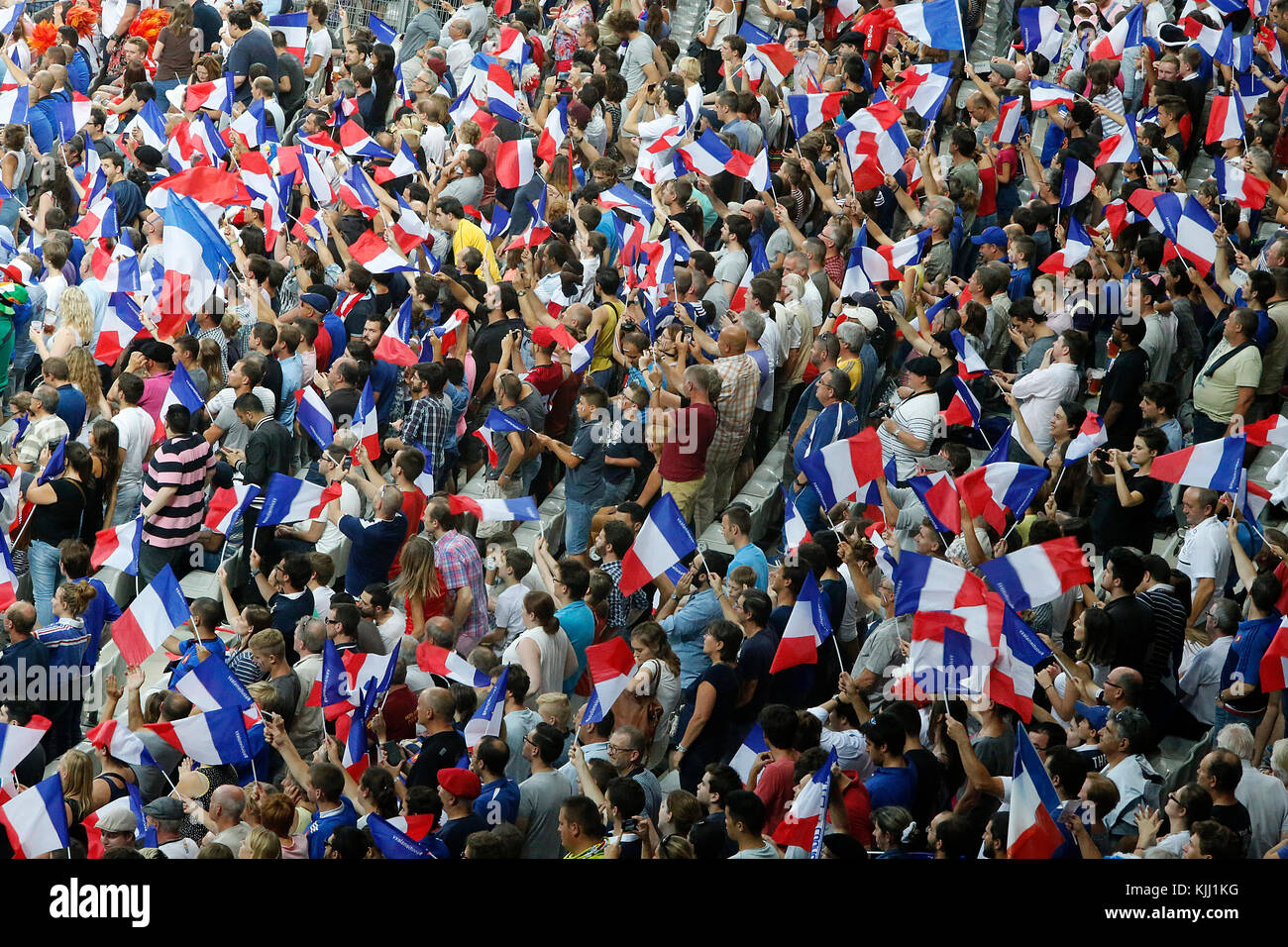 Rugby match at the Stade de France. French spectators. France. - Stock Image