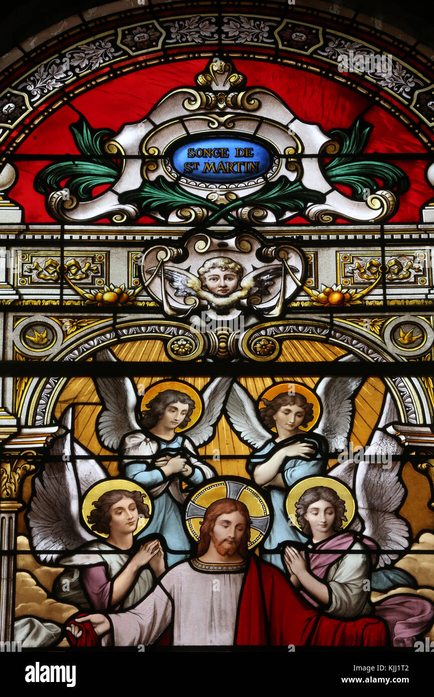Saint Martin church.  Stained glass window.  The dream of Saint Martin of Tours.  Avallon. France. - Stock Image
