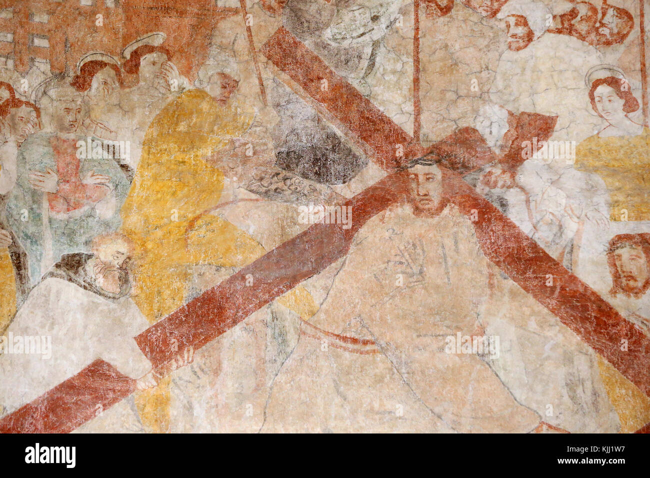 Vault de Lugny church.  16th century wall painting. Christ in his passion. Jesus accepts his cross.  France. - Stock Image