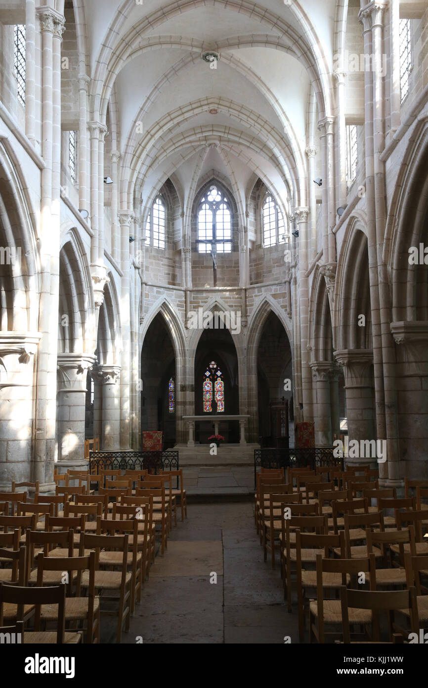 Saint-Pere church.  Gothic architecture. The nave.  France. Stock Photo