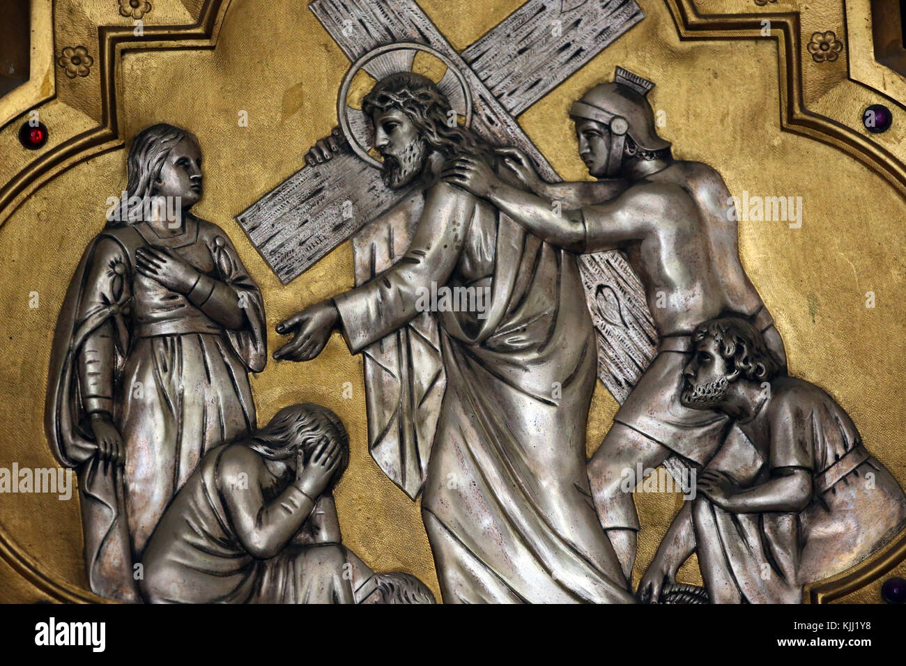 Saint Fargeau church. Passion of Jesus Christ. Way of the cross. Station 8.  France. - Stock Image