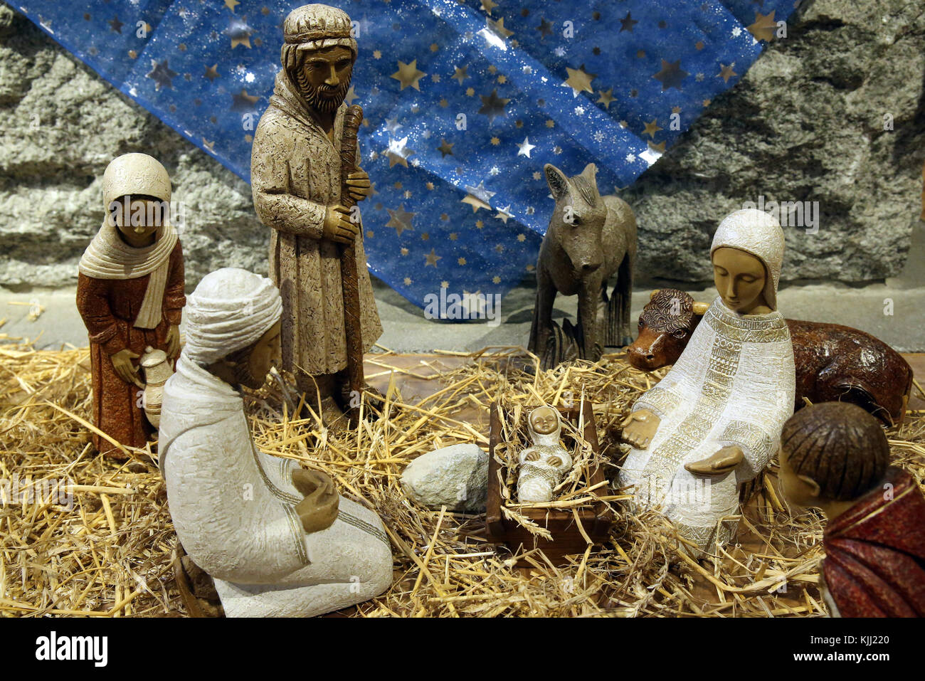 Christmas crib with baby Jesus.  France. - Stock Image