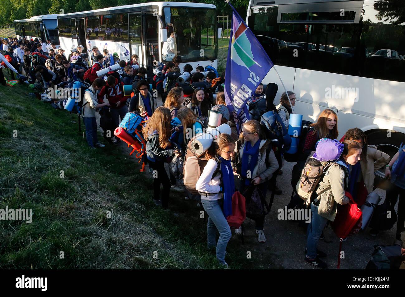 FRAT catholic youth camp. Arrivals. France. - Stock Image