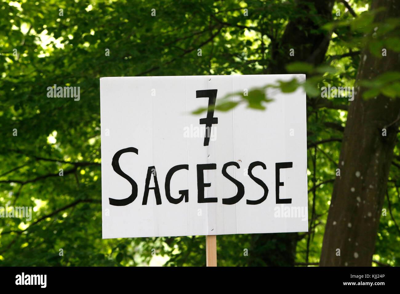 FRAT catholic youth camp. Sign : wisdom. France. - Stock Image