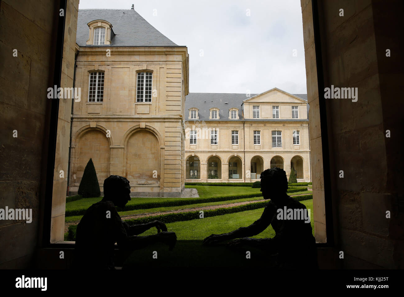 Art work displayed in the Abbaye-aux-Dames, Caen. France. - Stock Image