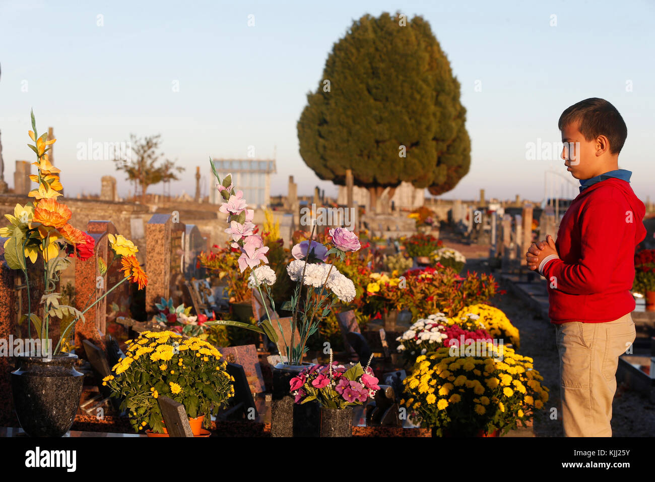 10-year-old boy in a graveyard. France. - Stock Image