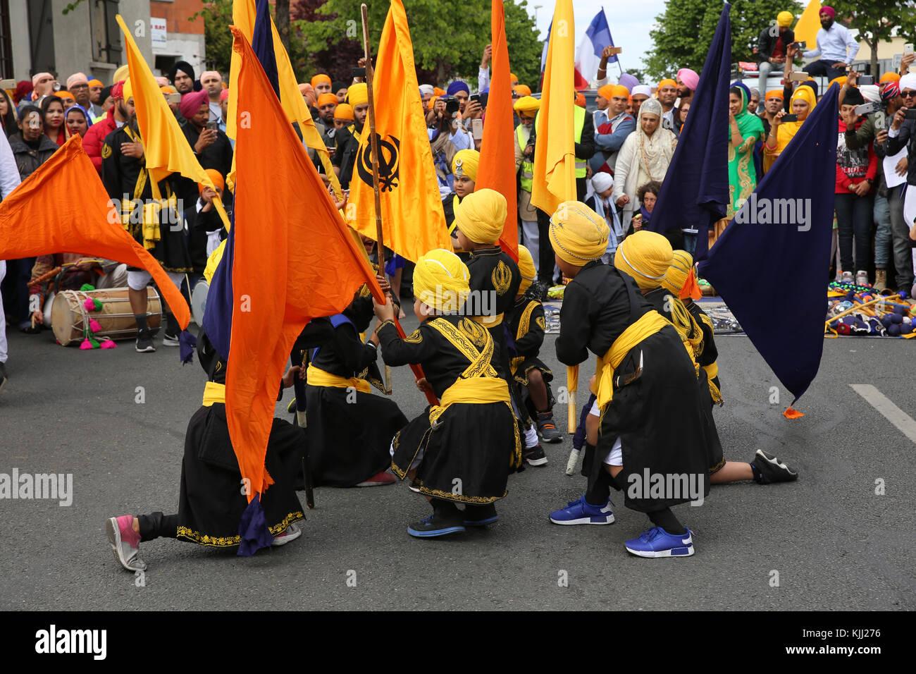 Sikhs celebrating Vaisakhi festival in Bobigny, France. Stock Photo