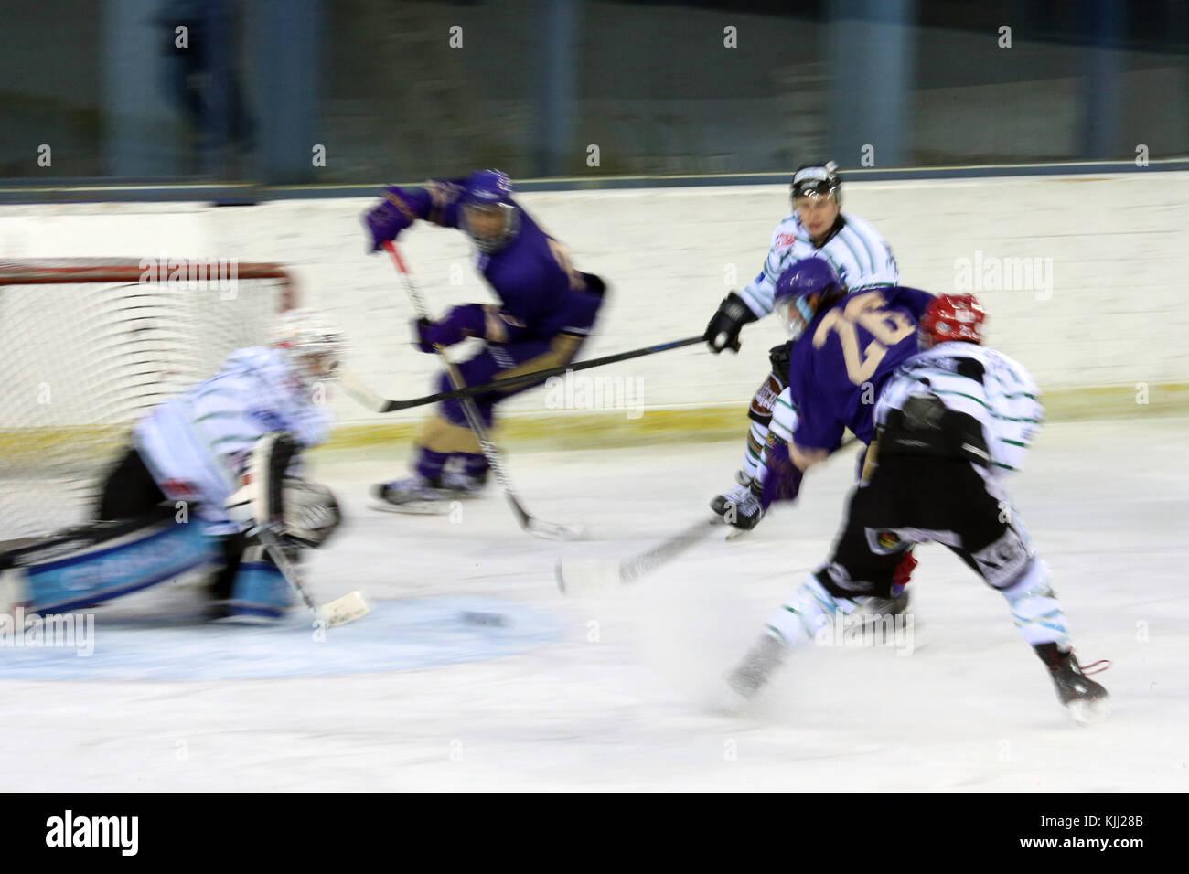 Ice hockey match. Mont-Blanc vs St. Michaels.   France. - Stock Image