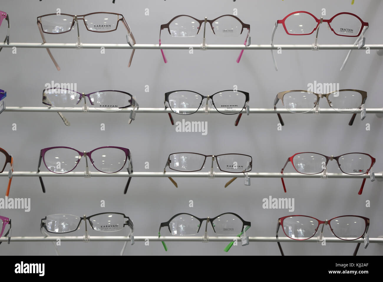 Assortment of glasses in an optician shop.  France. - Stock Image