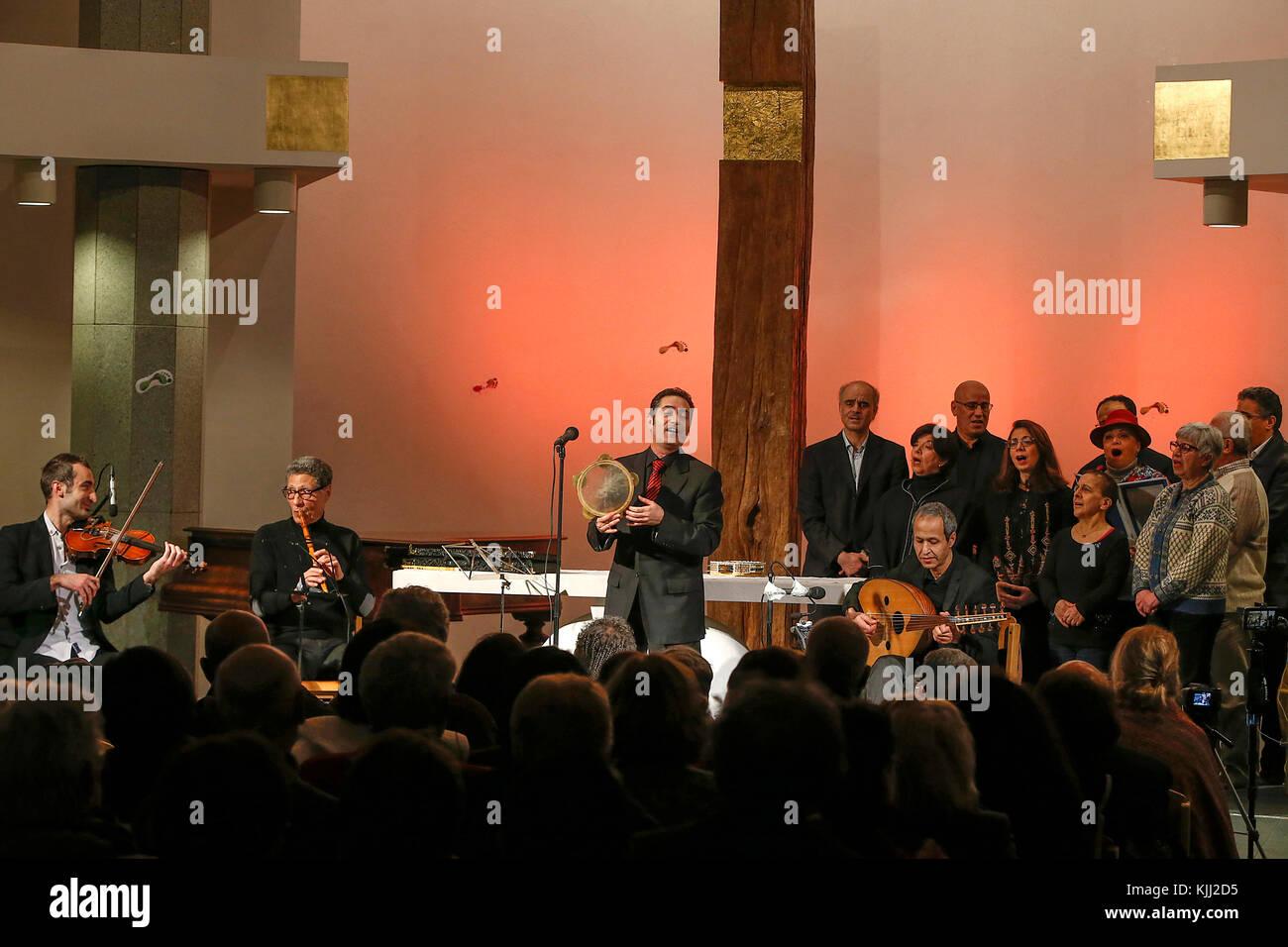 Singer Hamam Khairi & the Wajd ensemble in Notre Dame d'Esperance church, Paris. France. - Stock Image