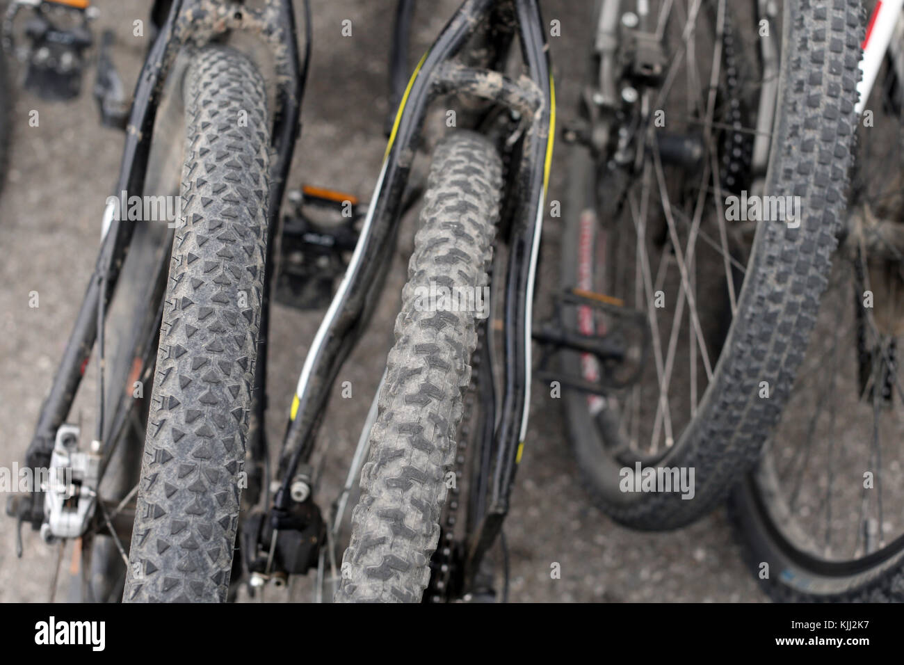 Mountain bike with spiked tires. France. - Stock Image