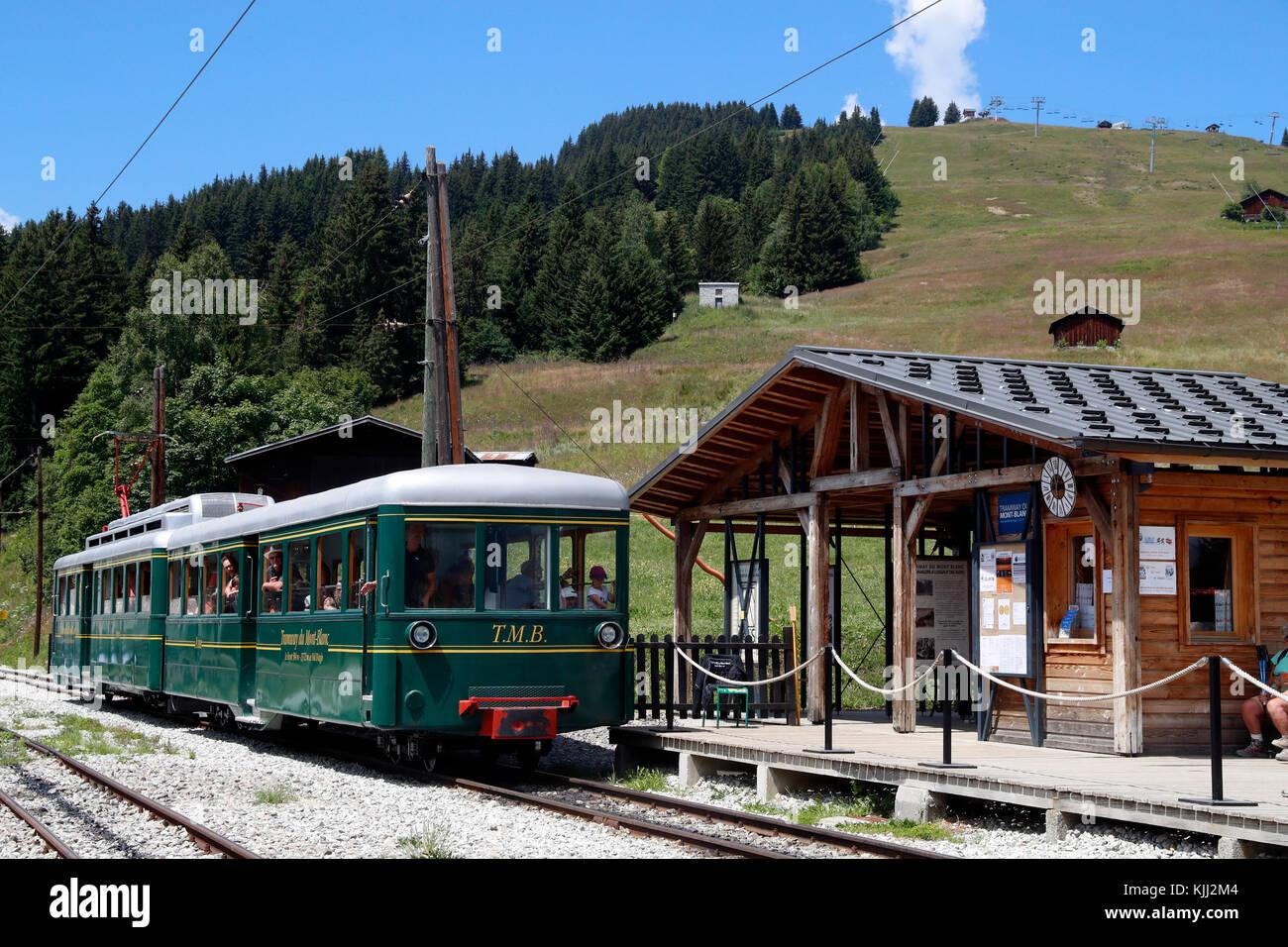 The Mont Blanc mountain cog train at Col de Voza.  France. - Stock Image