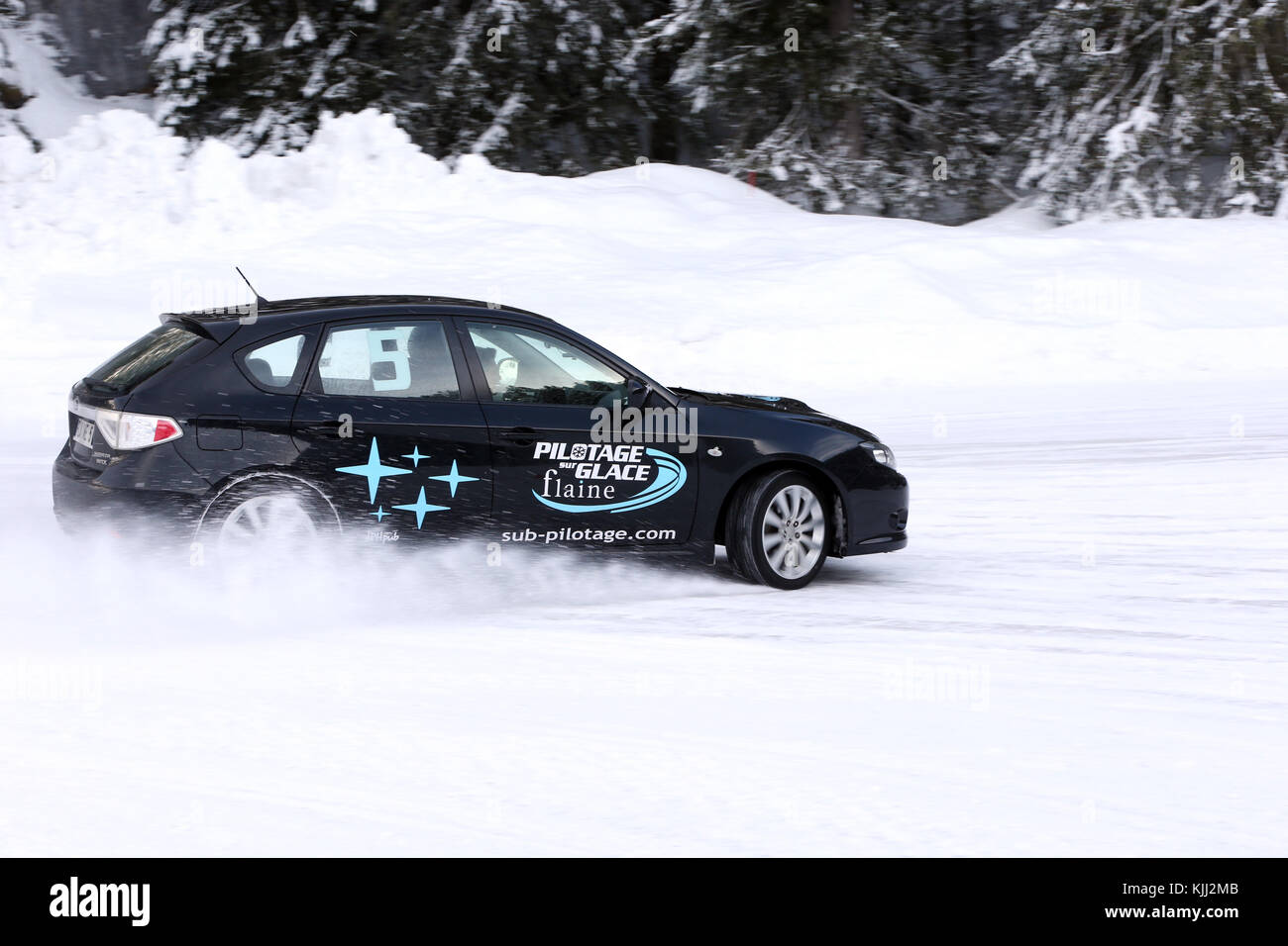 Flaine ice driving school.  France. - Stock Image