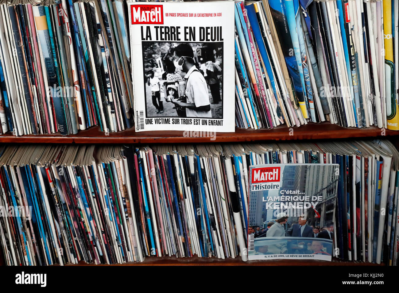 Collection of old Paris Match magazines.  France. - Stock Image