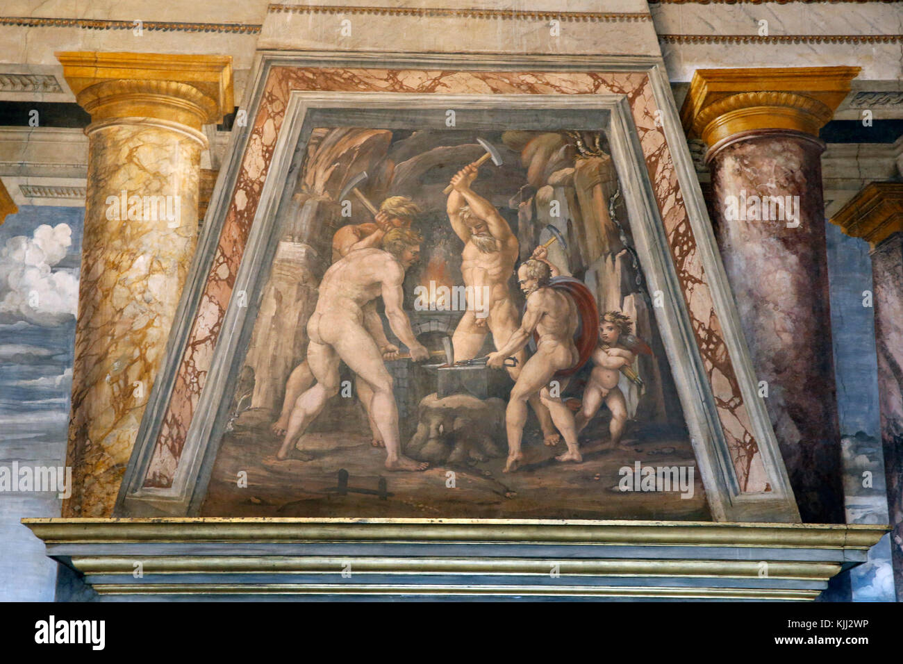 Villa Farnesina, Rome. The Perspectives Hall. Freco above the fireplace: Forge of Vulcan. Italy. - Stock Image