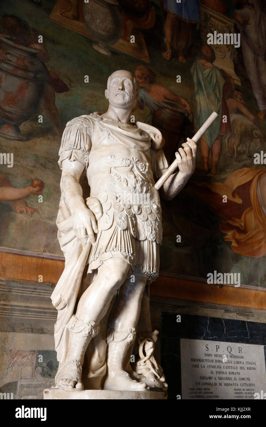 Capitoline museum, Rome. Sala dei Capitani. Hall of Captains. Statue of Marco Antonio Colonna, 1595, marble.   Italy. - Stock Image