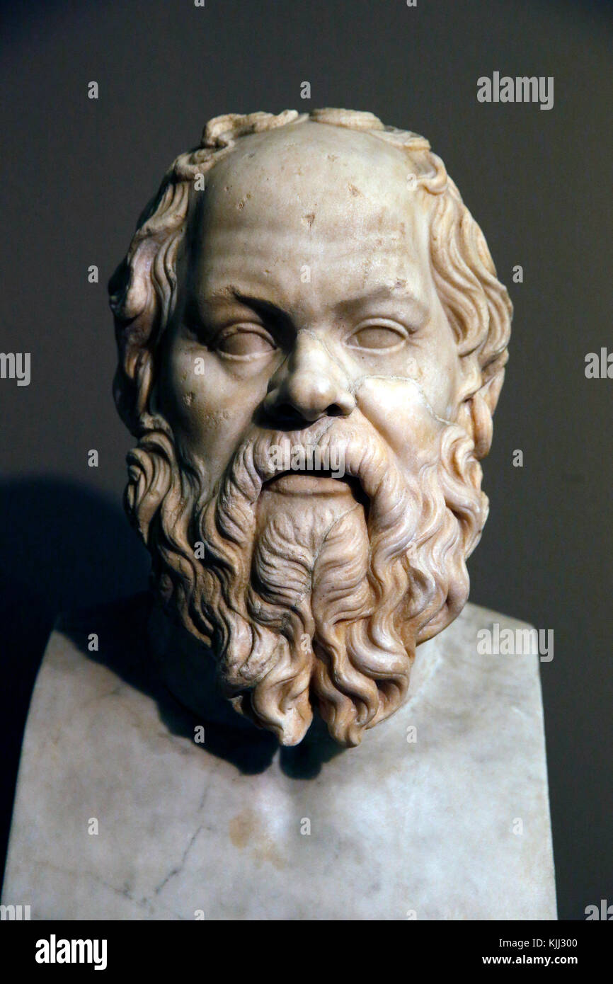 Capitoline museum, Rome. Palazzo Nuovo. Socrates. Late 1st-early 2nd c. A.D. Grechetto marble. Italy. - Stock Image