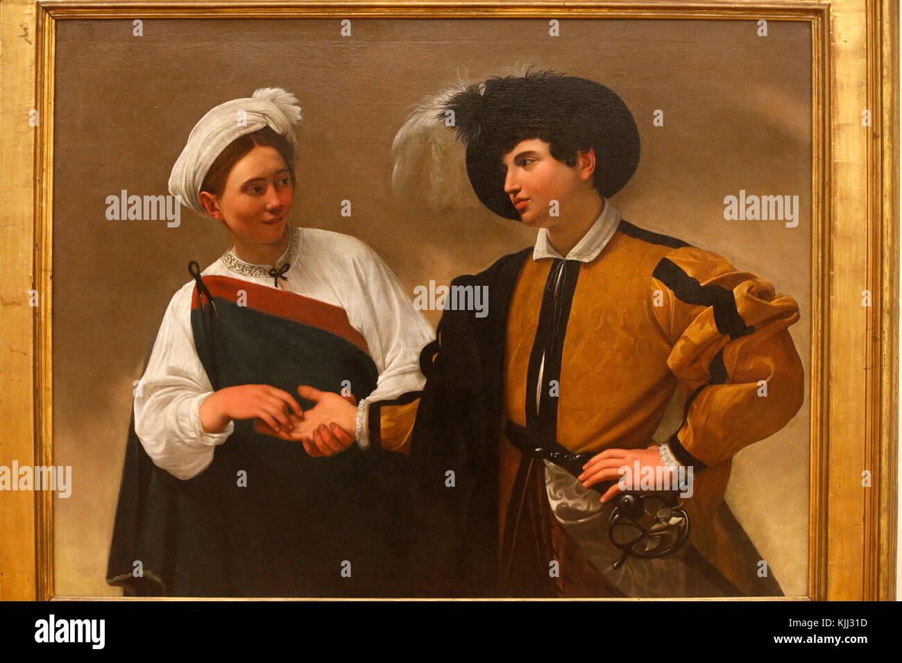 Capitoline museum, Rome. Caravaggio, The Fortune Teller, oil on canvas, about 1595. La diseuse de bonne aventure - Stock Image