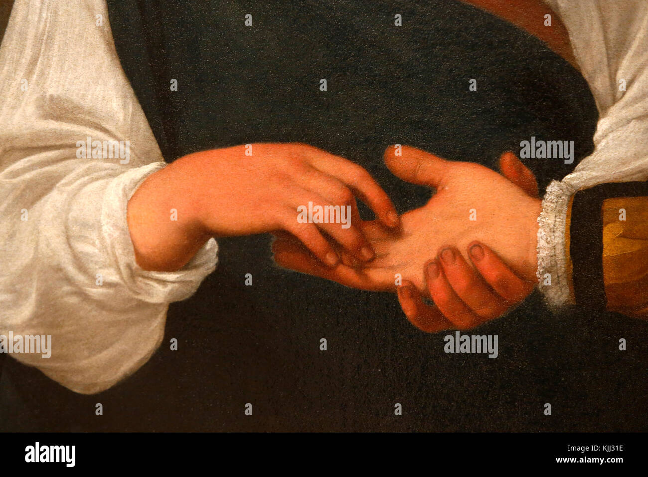 Capitoline museum, Rome. Caravaggio, The Fortune Teller, oil on canvas, about 1595. Detail.  Italy. - Stock Image