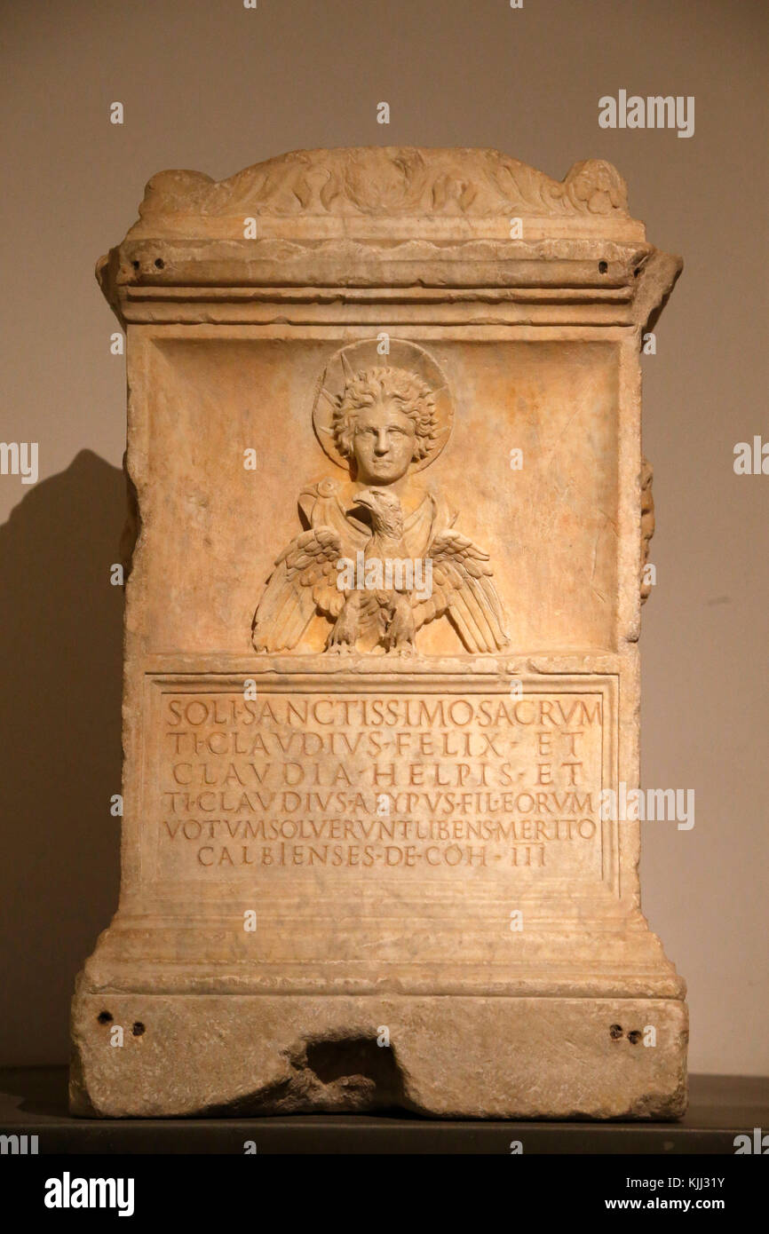 Capitoline museum, Rome. Altar with a dedication to the sun god. 1st century A.D. Italy. - Stock Image