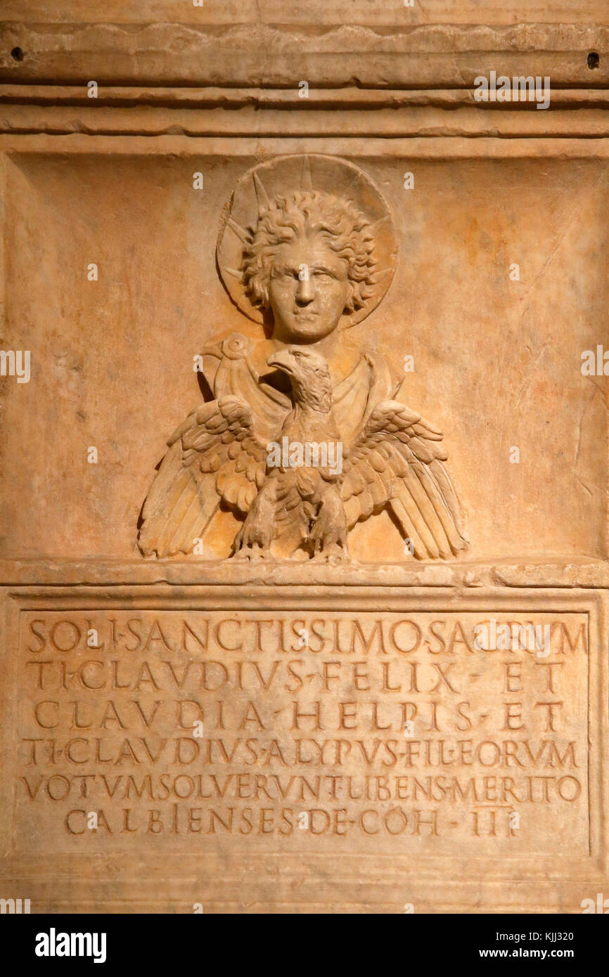 Capitoline museum, Rome. Altar with a dedication to the sun god. 1st century A.D. Detail. Italy. - Stock Image