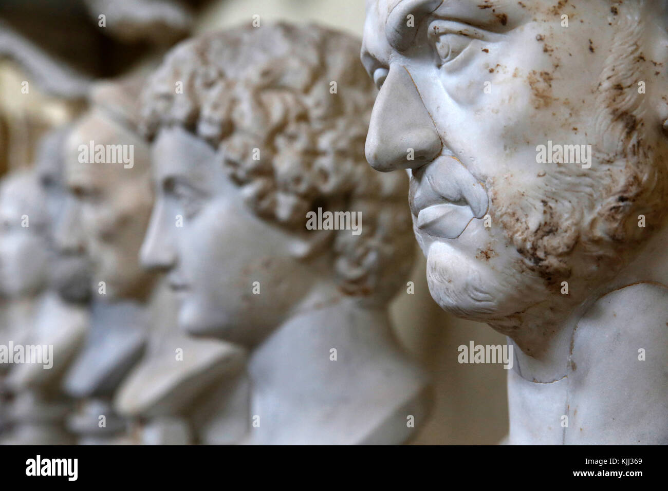 Vatican museums, Rome. Chiaramonti museum. Busts Italy. - Stock Image