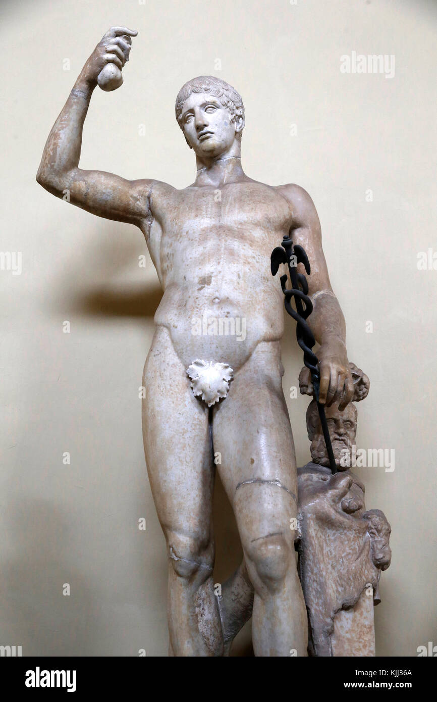 Vatican museums, Rome. Male statue, completed as Hermes. Italy. - Stock Image