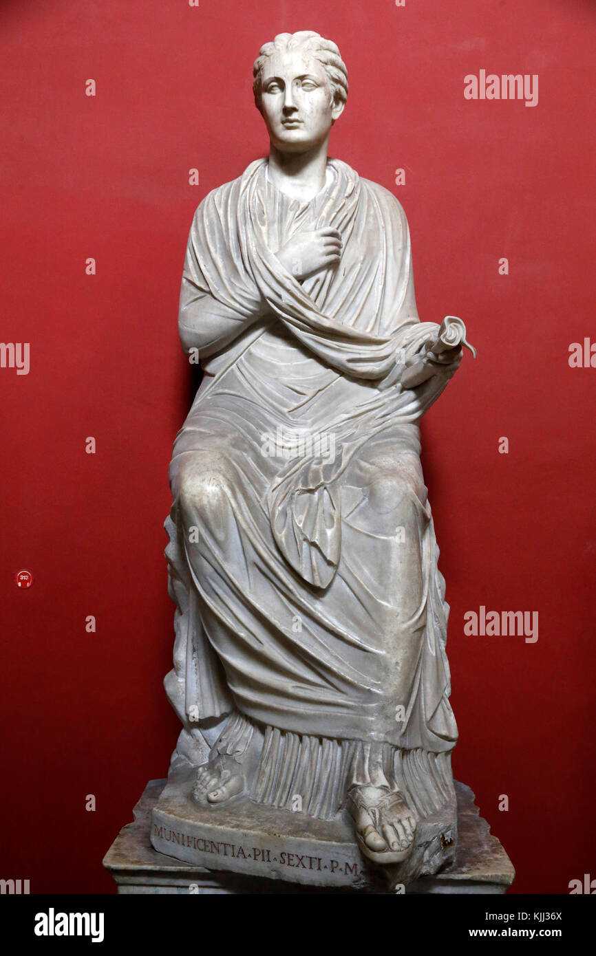 Vatican museums, Rome. Pio Clementino museum. Female statue, so-called Sapho. Italy. - Stock Image